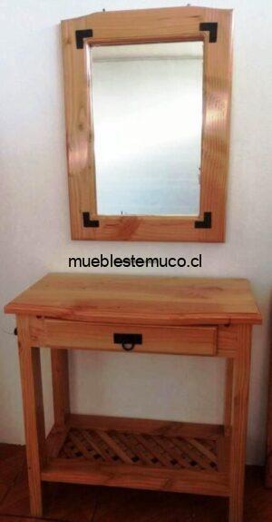 mesa de arrimo con espejo de madera